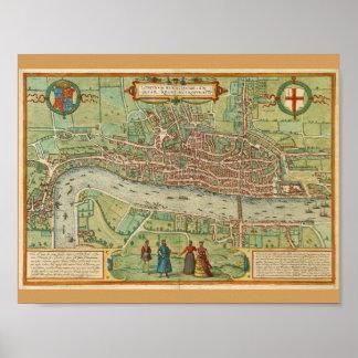 Poster Mapa 1600 de Londres