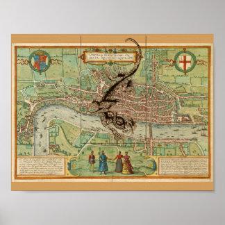 Poster Mapa 1600 de Londres com dragão