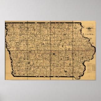 Pôster Mapa 1897 antigo de rotas da entrega do trilho de