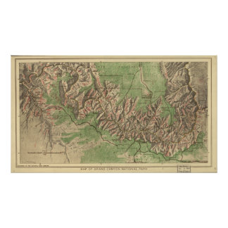 Pôster Mapa 1926 do parque nacional do Grand Canyon