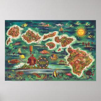 Pôster Mapa 1950 de Dole da pintura de óleo de Havaí