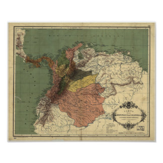 Poster Mapa antigo de Colômbia - Panamá 1886