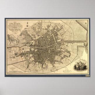 Pôster Mapa antigo de Dublin Ireland, 1797