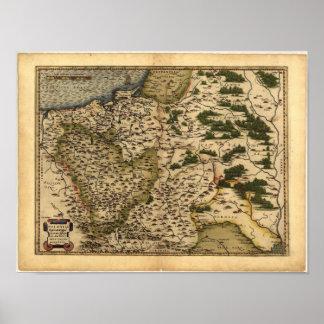 Poster Mapa antigo do ATLAS 1570 A.D. do Polônia ORTELIUS
