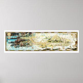 Poster Mapa antigo do Fairyland pelo trenó de Bernard