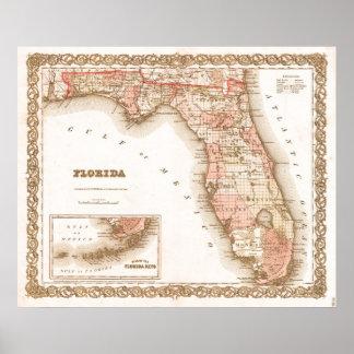 Poster Mapa da antiguidade 1855 de Florida