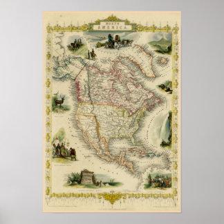 Pôster Mapa da imagem de America do Norte
