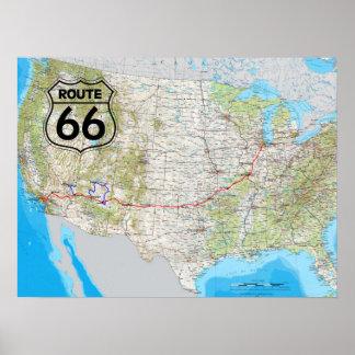 Poster Mapa da rota 66