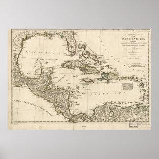 Pôster Mapa das Índias Ocidentais por Samuel Dunn (1774)