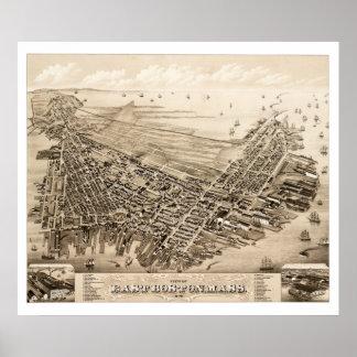 Pôster Mapa de Boston do leste, Massachusetts em 1879