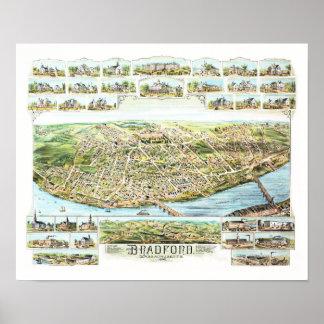 Poster Mapa de Bradford Massachusetts em 1892