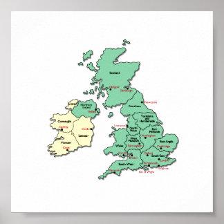 Poster - mapa de condados BRITÂNICOS