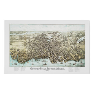 Poster Mapa de Fall River, Massachusetts em 1877