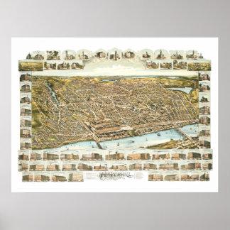 Pôster Mapa de Haverhill Massachusetts desde 1893