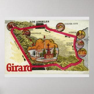 Pôster Mapa de Los Angeles do vintage