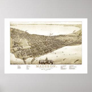 Pôster Mapa de Madison, Wisconsin desde 1885
