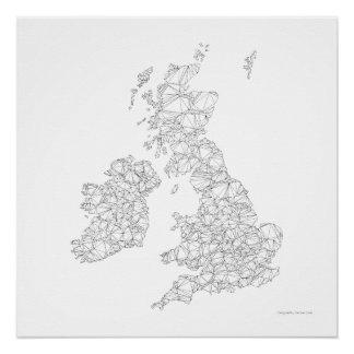 Pôster Mapa de Reino Unido do triangulação