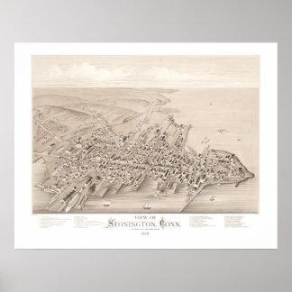 Pôster Mapa de Stonington, Connecticut em 1879