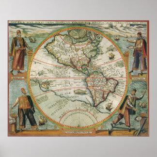 Poster Mapa de Velho Mundo antigo dos Americas, 1597