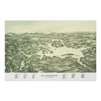 Pôster Mapa do lago Winnipesaukee desde 1903