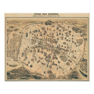 Poster Mapa do monumento de Paris