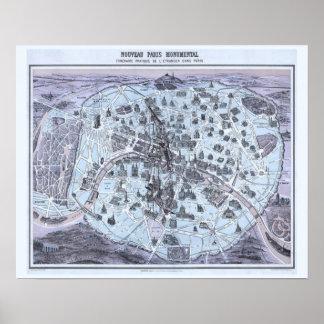 Poster Mapa do monumento de Paris com princesa