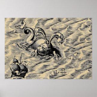Poster Mapa do mundo ártico do Sepia do monstro de mar &