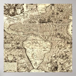 Poster Mapa do mundo de América por Diego Gutiérrez