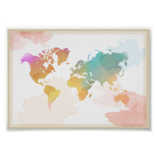 Poster Mapa do mundo do Watercolour