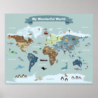 Pôster Mapa do mundo dos miúdos com imagens e animais