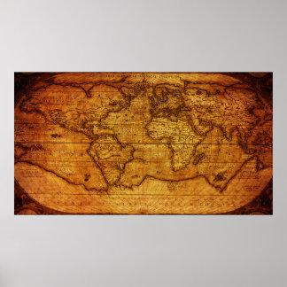 Pôster Mapa do mundo lindo do vintage