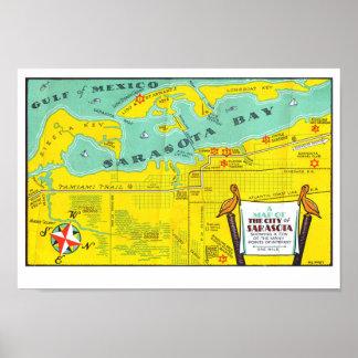 Poster Mapa do turista do vintage de Sarasota