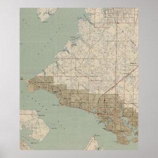 Pôster Mapa do vintage da Cidade do Panamá Florida (1943)