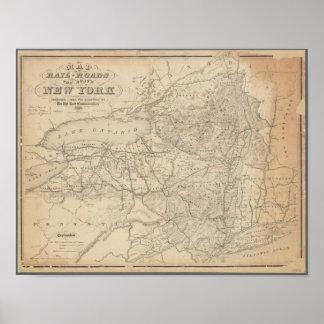 Pôster Mapa do vintage das estradas de ferro de New York