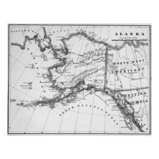 Pôster Mapa do vintage de Alaska (1883) BW