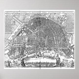 Pôster Mapa do vintage de Amsterdão (1721) BW