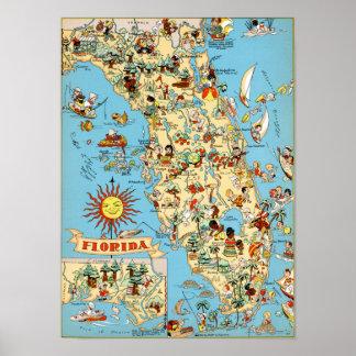 Pôster Mapa do vintage de Florida