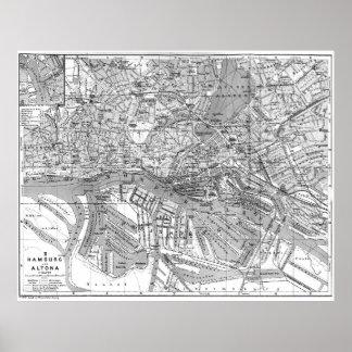 Poster Mapa do vintage de Hamburgo Alemanha (1910) 2 BW