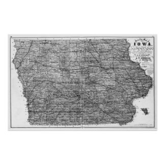 Poster Mapa do vintage de Iowa (1875) BW