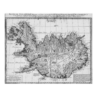 Poster Mapa do vintage de Islândia (1761) BW