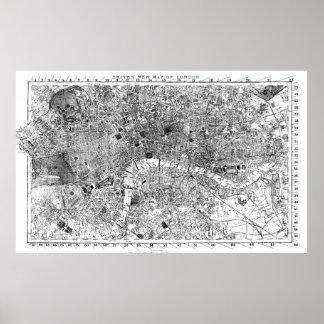Poster Mapa do vintage de Londres Inglaterra (1860) BW