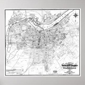 Poster Mapa do vintage de Louisville Kentucky (1873) BW