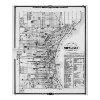 Pôster Mapa do vintage de Milwaukee Wisconsin (1878) BW