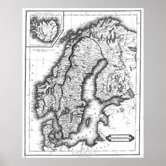 Poster Mapa do vintage de Noruega e de suecia (1831) BW
