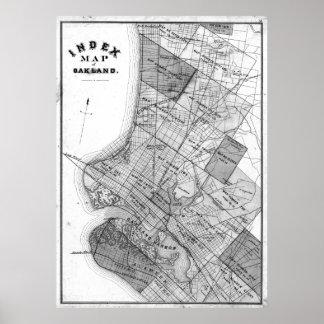 Poster Mapa do vintage de Oakland Califórnia (1878) BW