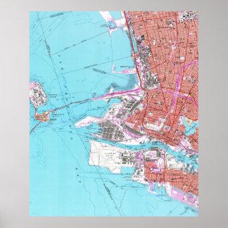 Poster Mapa do vintage de Oakland Califórnia (1959)