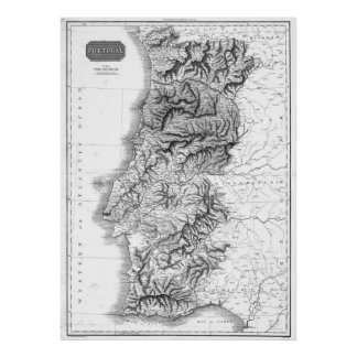 Pôster Mapa do vintage de Portugal (1818) BW