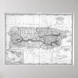 Pôster Mapa do vintage de Puerto Rico (1901) BW