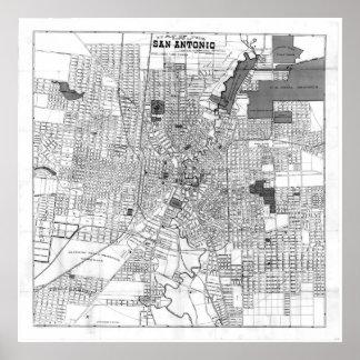 Poster Mapa do vintage de San Antonio Texas (1909) BW