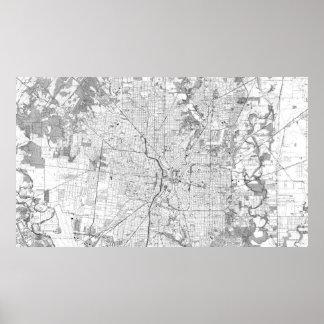Pôster Mapa do vintage de San Antonio Texas (1953) BW